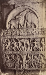 Close view of band of narrative sculpture on a column in the Virupaksha Temple, Pattadakal 10031891